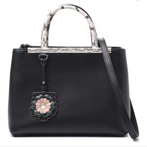 FENDI black leather bag with flower chain